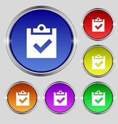 Check mark tik icon sign Round symbol on bright vector image