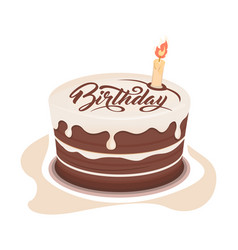 Chocolate birthday cake vector