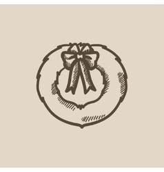 Christmas wreath sketch icon vector