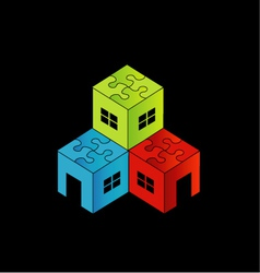 Colorful Logo for real estate market with a puzzle vector image