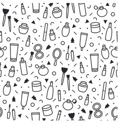 Cosmetic products seamless pattern cartoon make vector