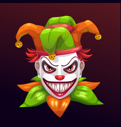 crazy creepy joker face vector image