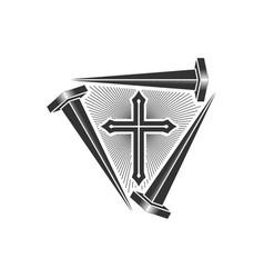 Cross jesus and nails crucifixio vector