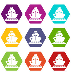 cruise ship icons set 9 vector image