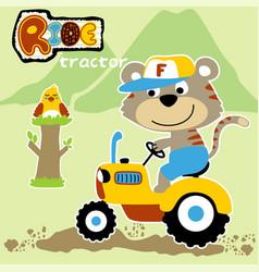 Cute farmer cartoon ride a tractor vector
