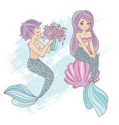 cute mermaid cartoon travel tropical vector image