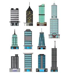 Different kinds buildings cartoon vector