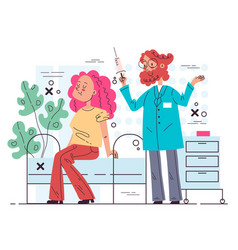 doctor character making vaccine injection vector image