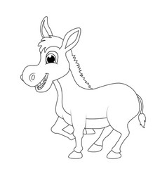donkey cartoon character outline design isolated vector image