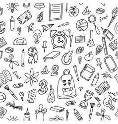 doodle seamless background school pattern with vector image