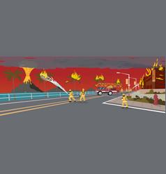 firefighters on truck extinguish volcano eruption vector image