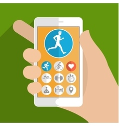Fitness app concept on touchscreen vector image