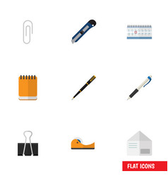 flat icon tool set of date block nib pen pencil vector image