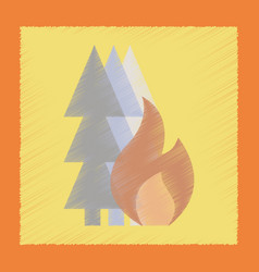 Flat shading style icon forest fire vector