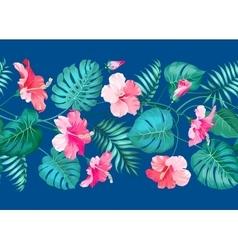 Floral linear tile design vector image