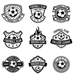 Football club emblems on white background soccer vector