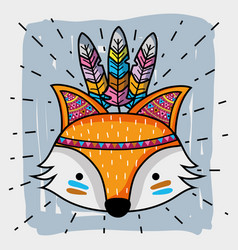 Fox tribal animal with feathers decoration vector