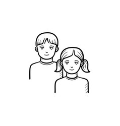 girl and boy hand drawn sketch icon vector image