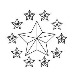 golden frame star emblem vector image