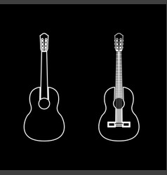 guitar white color path icon vector image