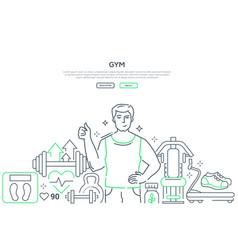 gym - modern line design style web banner vector image