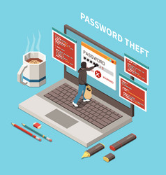 Hacker fishing digital crime isometric composition vector