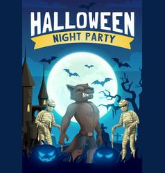 Halloween horror night bats pumpkins mummies vector