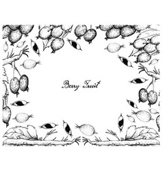 Hand drawn frame of blackberry jam fruits and blac vector