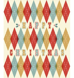 Happy christmas retro geometric pattern vector