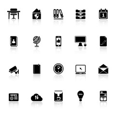 Home office icons with reflect on white background vector