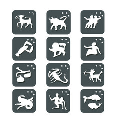 icons all signs of the zodiac color buttons vector image