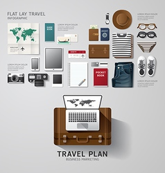 Infographic travel business flat lay idea hipster vector