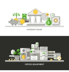 Internet Bank Office Equipment Flat Design vector