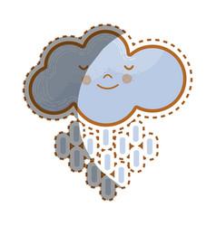 kawaii tranquil cloud raining icon vector image