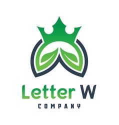 king nature logo design letter w vector image