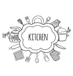 Kitchen tools sketch bubbles vector