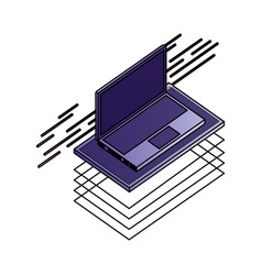 laptop computer isometric device digital vector image