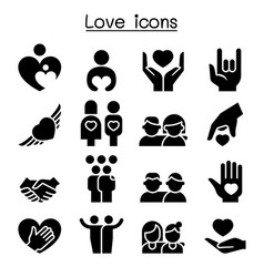 love relationship friend family icon set vector image