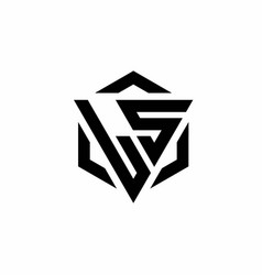 Ls logo monogram with triangle and hexagon modern vector