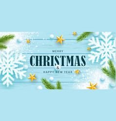 Merry christmas and happy new year horizontal vector