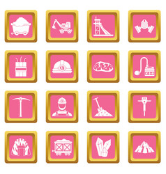 miner icons pink vector image