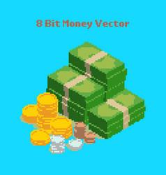 money 8 bit pixelated vector image