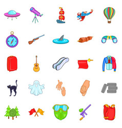 Mysterious things icons set cartoon style vector