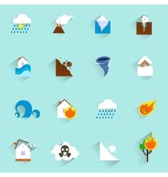 Natural disaster icons flat vector image
