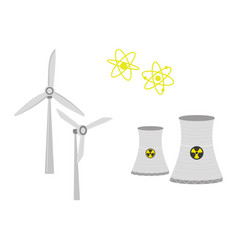 nuclear power plant chimney shafts and windmills vector image
