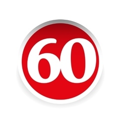 Number sixty red label vector