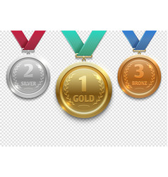 Olympic gold silver and bronze award medals vector