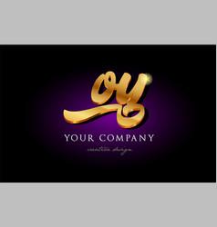 Oy o y 3d gold golden alphabet letter metal logo vector