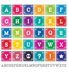 Papel picado alphabet letters template set vector