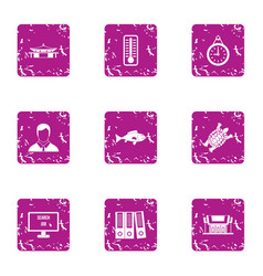 Park business icons set grunge style vector